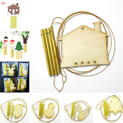 DIY Paint Your Own Wooden Wind Chime Wood Windchime Christmas Decor Kids Gift