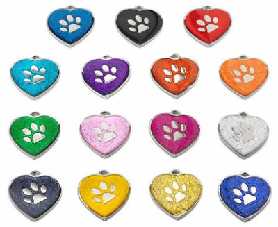 Personalised Engraved ID Pet Tags Glitter Heart Paw Design Quality 25mm Dog Pet