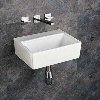 Wall Mounted Sink White Ceramic Bathroom Basin Sink 38.5cm by 30cm No Tap Hole