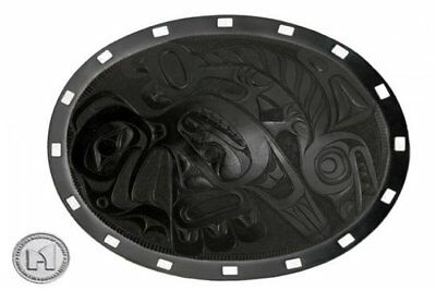 CMH licensed Haida argillite potlatch plate - Eagle and Salmon (reproduction)
