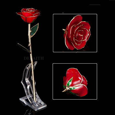 Red Gold Rose 24K Gold Trimmed Long Stem Real Rose with Moon-shape Rose Gift