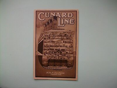 'AQUITANIA', Cunard Line - Sectional view of the ship - old postcard