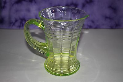 Vintage Lime Green Uranium Glass Water Jug With Applied Handle & Uneven Rim