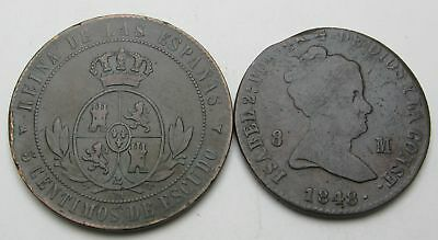 SPAIN 8 Maravedis & 5 Centimos 1848/1866 - Copper - 2 Coins. - 3544