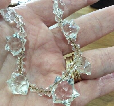 Vintage Art Deco Jewellery Stunning Cut Crystal Graduating Star Necklace