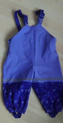 Baby girls/ boys waterproof trousers, salopettes,  purple, 6-12 months, exc.cond