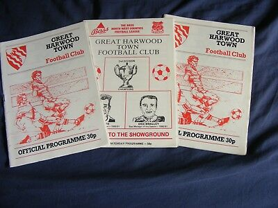 Non League Great Harwood Town F.c. X 3 Programmes Early 90's