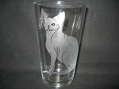 New Etched Sphynx Cat Pint Glass Tumbler