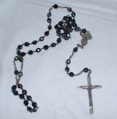 Rare Vintage Catholic Iridescent Glass Rosary Crucifix - Italy -  NO RESERVE