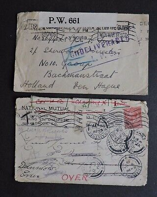 x2 GB 1915-18 WWI COVERS ! STAMP +SEALS +FORWARDED & FREE CENSOR HOLLAND UNDELIV