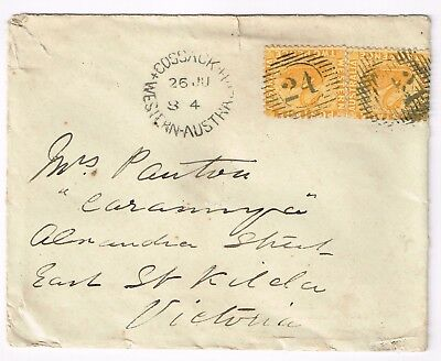 Western Australia, SG77 2d pair on cover from Cossack to Victoria NSW charming!