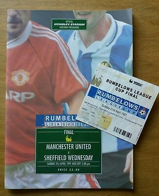 ORIGINAL 1991 League Cup Final Programme & Ticket - Man Utd vs Sheff Weds