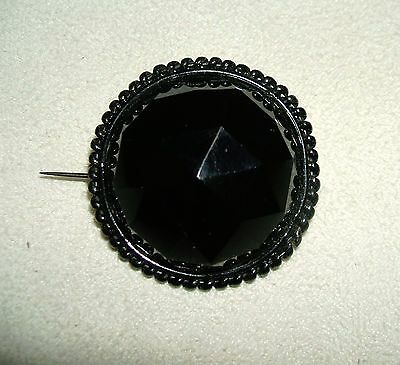 BLACK GLASS Mourning BROOCH PIN Large Faceted Dome Rope Border Long Pin Stem