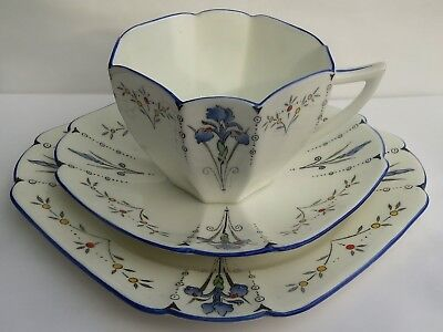 Superb Art Deco Shelley Queen Anne Blue Iris Trio  Ref 11561