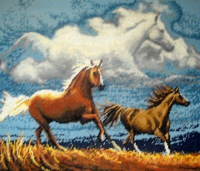 Counted Cross Stitch Tapestry Unframed Picture Galloping Wild Horses & Clouds
