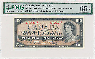 Bank of Canada 100 Dollars 1954 BC-43c - PMG 65 Gem UNC EPQ; Retail $350