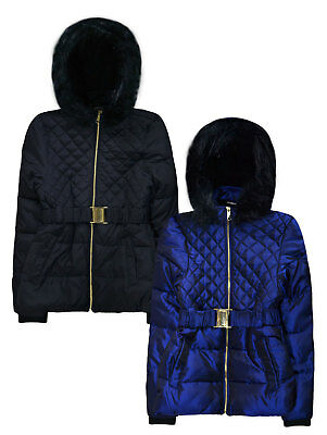 Girls Coat New Kids Quilted Padded Fur Trimmed School Fashion Jacket 7 - 13 Yrs