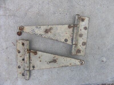 "2 Vintage Antique Iron Strap Hinges Barn Door Gate Hinges 12"" long w screws"