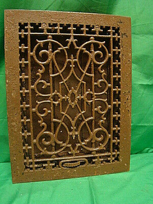 ANTIQUE LATE 1800'S CAST IRON HEATING GRATE UNIQUE ORNATE DESIGN 16 X 12   rth