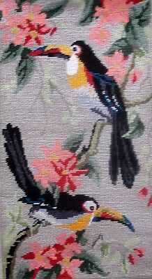 Vintage Complete Tapestry Needlepoint Cross Stitch Picture Unframed Toucans