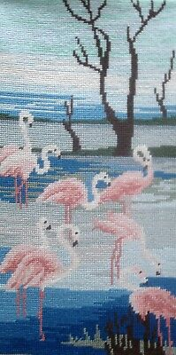 Vintage Complete Tapestry Needlepoint Cross Stitch Picture Unframed Flamingos