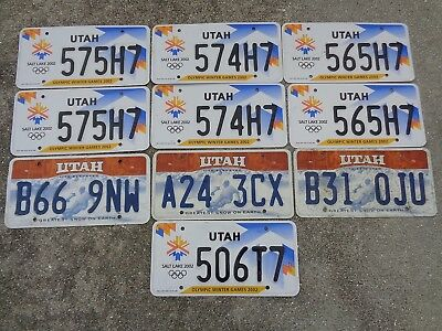10 Utah some olympic license plate lot for collecting or craft
