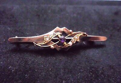 Antique Edwardian Marked 9 Carat Gold Amethyst & Seed Pearl Brooch