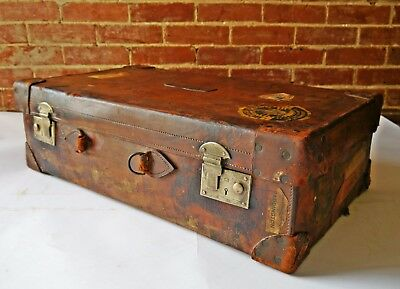 VTG Antique Solid Brown Leather Suitcase Trunk Brass Locks Coffee Table Retro