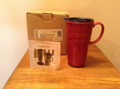 Longaberger Pottery Woven Traditions travel mug with lid and box Paprika