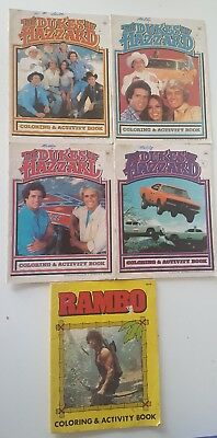 The Dukes Of Hazzard 1981 Coloring & Activity Books Lot of 4 and Rambo Book 1985