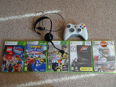 Xbox 360 wireless controller + headset + 5 games bundle