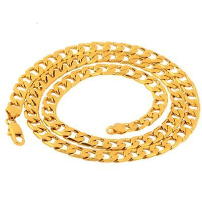 Men's Boy Stainless Steel 18K Gold Filled Curb Cuban Chain Necklace 24""