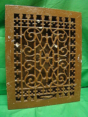 ANTIQUE LATE 1800'S CAST IRON HEATING GRATE UNIQUE ORNATE DESIGN 13.75 X 11 hg
