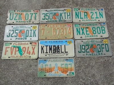 10 Florida license plate lot for collecting or craft # 2