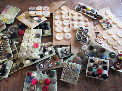 huge lot vintage BUTTONS collections on cards glass celluloid bakelite MOP metal