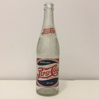 Pepsi Cola Painted Label Red White Blue Double Dot Soda Pop Advertising Bottle