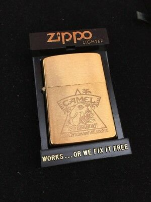1988 Brush Brass Design 75th Birthday Original Joe Camel Zippo Lighter RARE