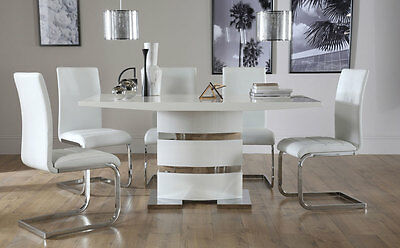Komoro & Perth High Gloss Dining Room Table and 4 6 Chairs Set - White