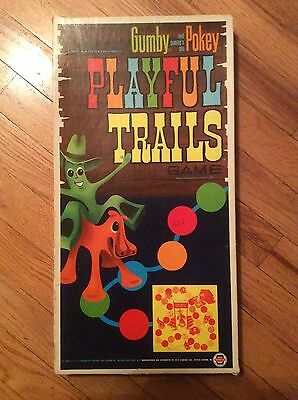 """1968 Lakeside Toys """" Gumby & Gumby's Pal Pokey Playful Trails"""" Game - Partial"""