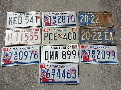 10 Maryland license plate lot for collecting or craft