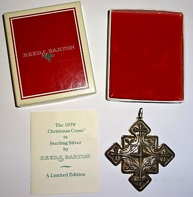 1979 REED & BARTON Sterling CHRISTMAS CROSS Ltd Ed ORNAMENT~MIB w/POUCH~PAPERS!