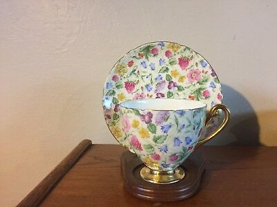 Shelley Countryside Chintz  #13701 Footed Ripon Cup & Saucer