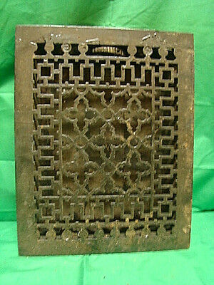 ANTIQUE LATE 1800'S CAST IRON HEATING GRATE UNIQUE ORNATE DESIGN 13.75 X 11 dhr