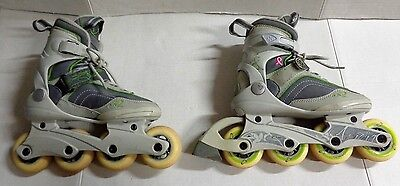 K2 Athena Green Gray Breast Cancer Roller Blades Womens Size 5