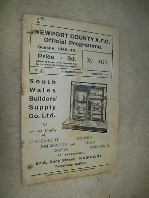 VINTAGE NEWPORT COUNTY V BOURNEMOUTH AFC FOOTBALL PROGRAMME AUGUST 21st 1948