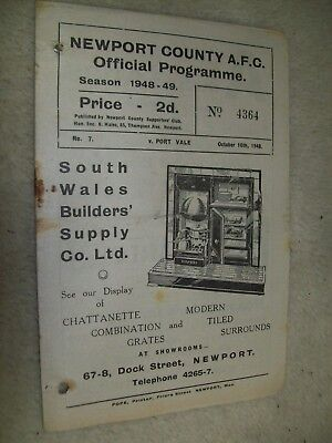 VINTAGE NEWPORT COUNTY V PORT VALE AFC FOOTBALL PROGRAMME OCTOBER 16th 1948
