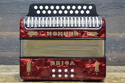 Hohner Erica 2-Row 21-Button 8-Bass A/D - HT Red Diatonic Accordion - #2150504