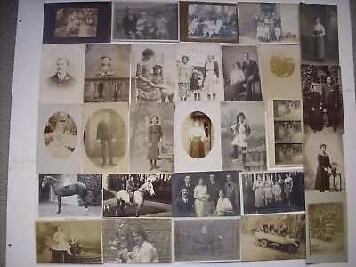 50 ANTIQUE PHOTO POSTCARDS OF PEOPLE & GROUPS of PEOPLE