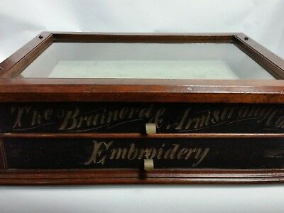 antique BRAINERD & ARMSTRONG 1883 Spool Cabinet Glass Top Carved Advertising