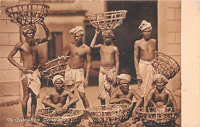 India postcard Calcutta Coolies